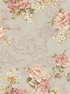 Pink and Grey Gracieux Floral Toile Wallpaper, SBK24902
