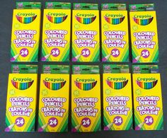 Ten Packs Crayola (Hallmark Co.) Coloured (Color) Pencils With Bonus Sharpener