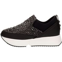 Alexander Smith Rhinestone Inserts Black Slip-on Sneakers (€288) ❤ liked on Polyvore featuring shoes, sneakers, black shoes, slip-on sneakers, black slip on shoes, platform shoes and black slip on sneakers