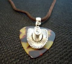 Cowboy Hat Charm on Guitar Pick with Black Velvet Cord Necklace by ItsYourPick on Etsy