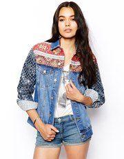 ASOS Denim Boyfriend Jacket with Embellished Sleeve