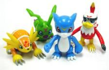 "Digimons 2.5"" Action Feature Veemon, Hawkmon, Armadillomon & Wormmon"