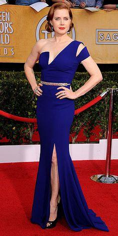 Amy Adams in deep-blue Antonio Berardi with unique neckline, cutouts & a metallic belt at SAG Awards