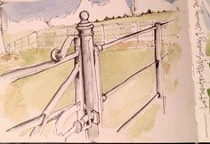 A gate at Lotherton Hall... Watercolour sketch in my Moleskine