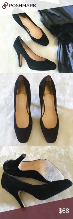 """Cole Haan Suede Nike Air Technology Heels Cole Haan Black Suede Nike Pumps. Classic silhouette mild square toed heels. Top of the heel in back has black patent stripe detailing. Excellent condition only sign of wear is the soles as shown in pic.  Perfect timeless heel perfect for work or your favorite little black dress! I don't have original box (I store all shoes is clear plastic shoe boxes). Will be shipped with care.  ( See love notes) 🙂  * 3.5"""" heels * Size 9.5 B Cole Haan Shoes Heels"""