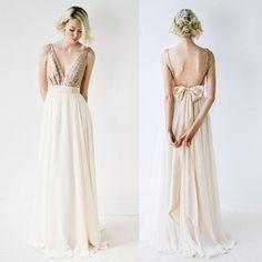 2016 Bridesmaid Dress,Long Bridesmaid Dress,V-Neck Bridesmaid Dress,Backless Bridesmaid