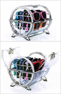 Sun glass Wheel Holder - since he has a million freakin pairs..