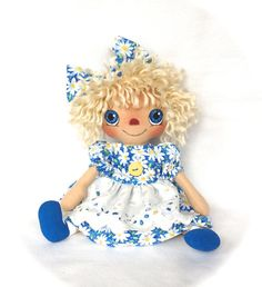 Primitive Raggedy Ann Doll Spring Summer Blue by cottoncandydolls, $35.00