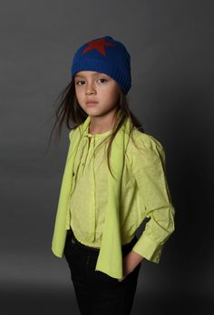 Lime green is used to add zing to the darker toned Velveteen fall 2015 kids fashion collection
