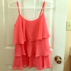top Beautiful coral color top. 100% polyester. trade Candie's Tops