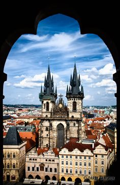 The Church of Our Lady before Tyn as viewed from the top of the Old Town City Hall in Prague, Czech Republic