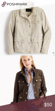 J. Crew Downtown Field Jacket - NWT- Petite Small Beautiful, never worn, NWT! The color is canvas (nice light khaki) and the material feels almost like a rain coat, but not shiny. Substantial weight and very well-made. The gold buttons add a touch of luxe and class. The Petite sizing is nice if you're on the shorter size and are tired of sleeves covering your hands. Dress it up, dress it down - make it yours! I'll accept reasonable offers! Thanks for looking! ❤ J. Crew Jackets & Coats…