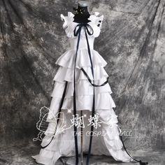 Chobits Chii Cosplay Kostüm costume Abend-Kleid Lolita Gothic white Weiss tail