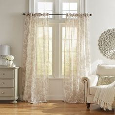 Elrene Home Fashions Westport Floral Tie-Top Sheer Curtain Panel Home - Home Decor - Curtains & Window Treatments - Bloomingdale's Sheer Curtains Bedroom, White Sheer Curtains, Sheer Curtain Panels, Window Curtains, Curtain Rods, Curtains Living, Kitchen Curtains, Luxury Curtains, Thing 1