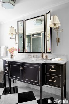 Vanity Goals It's hard to miss the ebonized vanity in the master bathroom of this New Jersey home, designed by Michael Aiduss. The wall-mounted mirror is just the glamorous cherry on top. Bath Design, Home Design, Interior Design, Bad Inspiration, Bathroom Inspiration, Bathroom Ideas, White Rooms, Bathroom Renovations, Remodel Bathroom
