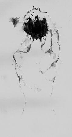 Simple female posterior back figure sketch.