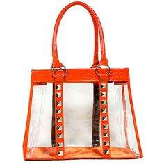 Clear PVC Tote Bag - Croc Embossed Patent Leather-like Trim w/ Pyramid Studs - Orange