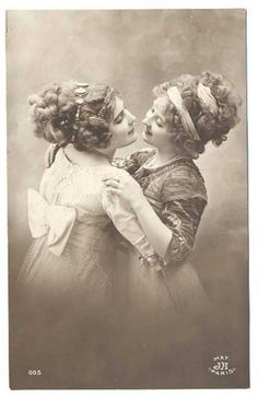 Vintage victorian era, early 1900s photo of two young women/teenage girls, holding hands having fun out on the farm, or out in the country. Description from pinterest.com. I searched for this on bing.com/images