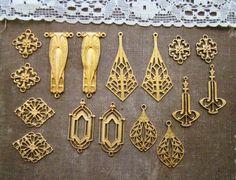 Golden Art Deco Raw Brass Connector Filigree by alyssabethsvintage, $13.99