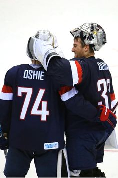 Oshie and Quick #Sochi2014 - The world's best goalie congratulating the world's best sniper.