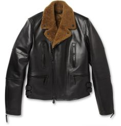 Burberry ProrsumLeather and Shearling Jacket|MR PORTER