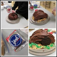 EMPTY TOMB CAKE    Bake a chocolate bundt cake. Cut in half & place halves back to back. Frost with chocolate frosting & cover to make a rounded mound leaving one side open for your cave entrance. Toss some coconut in green food dye to make your grass & spread around. Take some crumbled graham crackers for your loose dirt. Use a large York Peppermint Patty for your stone, but leave it covering cave until Easter morning.
