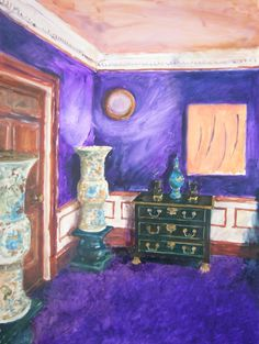 "Saatchi Online Artist: Magda Jarzabek; Oil, Painting ""Rooms waiting - Violet room"""