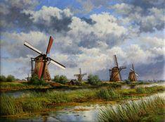 Molens bij Kinderdijk met wolkenluchten, Cees Hasman Watercolor Landscape, Landscape Paintings, Watercolor Paintings, Windmill Art, Holland Windmills, My Art Studio, Celtic Art, Le Moulin, Beautiful Paintings