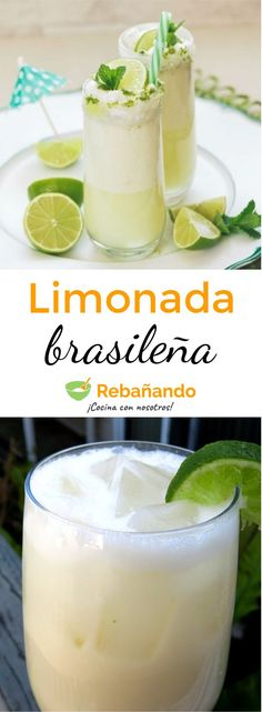 A refreshing lemonade with a special ingredient … MILK CONDENSED! Liquor Drinks, Cocktail Drinks, Fun Drinks, Yummy Drinks, Easy Drink Recipes, Great Recipes, Favorite Recipes, Smoothies, Do It Yourself Food