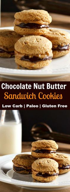 """Chocolate Nut Butter Sandwich Cookies Low Carb will remind you of """"Nutter Butter"""" cookies, only healthier, chocolaty, gluten free, low carb and paleo."""