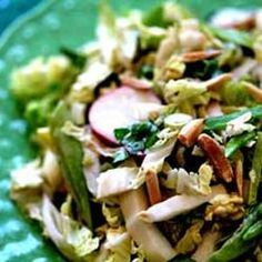 Making this for tomorrow's picnic. This napa cabbage picnic salad combines Chinese napa cabbage, radishes, snow peas, toasted slivered almonds, with a sweet soy mayo dressing. Picnic Salad Recipes, Napa Cabbage Salad, Cabbage Slaw, Salsa, Vegetarian Recipes, Healthy Recipes, Slaw Recipes, Yummy Recipes, Simply Recipes