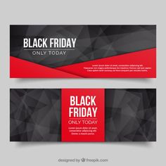 Polygonal banners black friday Free Vector