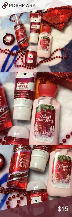 BATH&BODY WORKS -WINTER CANDY APPLE BTH SET- NEW☃️ 4-PIECE BATH SET- WINTER CANDY APPLE- NEW! THIS SZ IS GREST FOR HOLIDAY TRAVEL!!!☃️❄️☃️ HAND CREAM-BODY LOTION-BODY MIST-ANTI-BACTERIAL HAND GEL❤️ Bath&Body Works Other