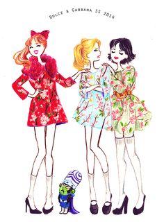 Powerpuff Girls in Dolce & Gabbana by Maëlle