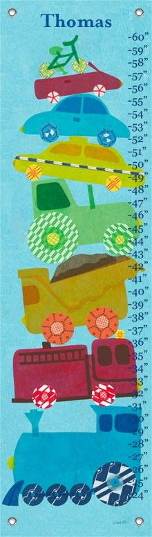 """Things That Go"" Personalized Growth Chart for Boys by Libby Ellis for Oopsy Daisy $49 - FREE personalization thru 3/5"
