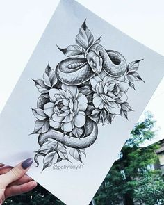 Rose Tattoos, Body Art Tattoos, Sleeve Tattoos, Stomach Tattoos, Tattoos Skull, Animal Tattoos, Snake And Flowers Tattoo, Snake Tattoo, Unique Tattoos