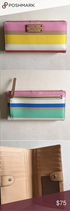 "Kate Spade Multi-Color Striped Wallet This beautiful wallet is perfect for summer.  Inside - Slots for bills, cards and ID. Back - Change Purse.  Only carried twice.  Measurements: H- 3.5""/Length - 6.75""/Width - .75"" kate spade Bags Wallets"