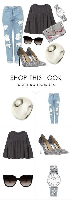 """casual chic"" by ravit-hillman ❤ liked on Polyvore featuring Topshop, MANGO, Jimmy Choo, Longines and Dolce&Gabbana"