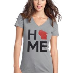 Heathered Grey V-neck Ladies HOME shirt from AW Artworks LLC | Square Market