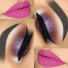 41 Insanely Beautiful Makeup Ideas for Prom Purple Glittery Eyes and Pink Lips Prom Makeup – Das schönste Make-up Glamorous Makeup, Gorgeous Makeup, Love Makeup, Purple Makeup, Cat Makeup, Amazing Makeup, Perfect Makeup, Pretty Makeup, Beauty Makeup