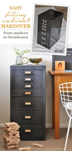 How to transform a metal file cabinet from modern to farmhouse