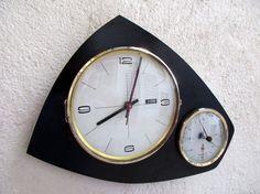 French Mid Century Atomic Age FFR Wall Clock  by Decofanatique