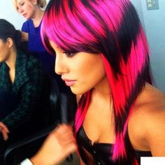 Pink and black striped hair <3