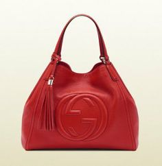 Soho Leather Shoulder Bag, Red by Gucci at Neiman Marcus. Gucci Handbags Outlet, Luxury Handbags, Gucci Purses, Gucci Fashion, Fashion Bags, Luxury Fashion, Fashion Accessories, Red Handbag, Shoulder Handbags