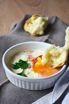 baked eggs with feta cheese, turkey and red pepper