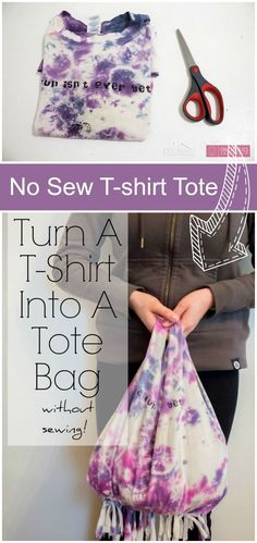Learn how to turn a t-shirt into a tote bag in under ten minutes WITHOUT sewing a stitch! Reuse old tees, great teen craft idea. No Sew t-shirt bag tutorial Sewing Hacks, Sewing Tutorials, Sewing Projects, Sewing Tips, Teen Projects, Bag Tutorials, Diy For Teens, Crafts For Teens, Teen Crafts