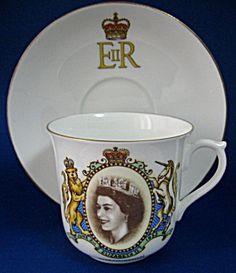 Shelley Cup And Saucer Coronation Queen Elizabeth II #TimeWasAntiques #ShelleyChina