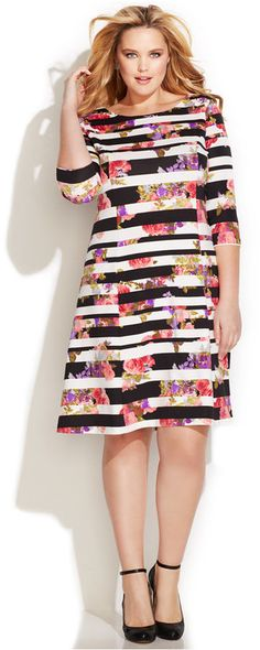 INC International Concepts Plus Size Mixed-Print A-Line Dress