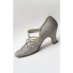 1920's zapatos de noche de brocado de plata