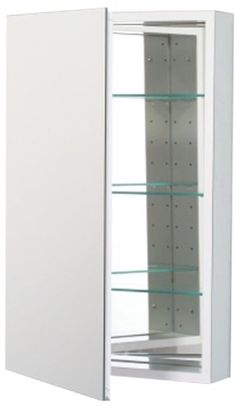Robern CB-PLM2030WLE  Pl-Series Left-Side Flat Mirror Medicine Cabinet.  Mounted for right hand opening.  Includes one duplex outlet.  20x30